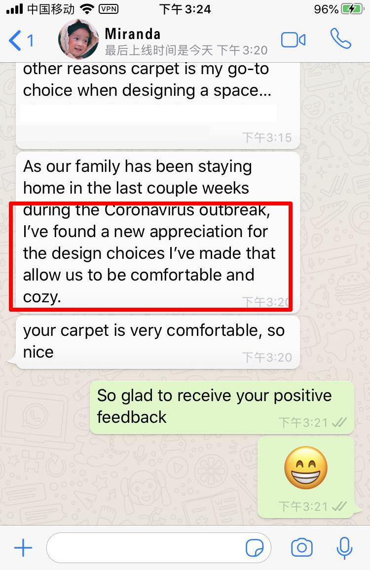 钻石地毯 澳洲客户 反馈